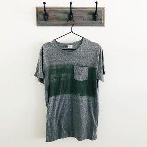 Abercrombie & Fitch Gray Green Stripe T-Shirt M